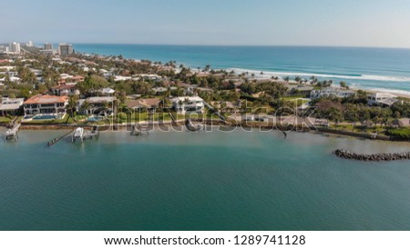 Jupiter Inlet in Florida, sunset aerial view.