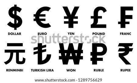 Most used currency symbols. Royalty-Free Stock Photo #1289756629