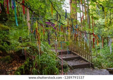 Clootie Tree at St Nectans Glenn near Tintagel in north Cornwall. Clootie Wells are places of pilgrimage in Celtic areas. Strips of cloth or rags are usually tied to a branch as part of a ritual. #1289791537