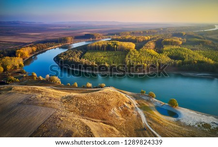 aerial view of the Danube river shore in summer, Dobrogea, Romania #1289824339