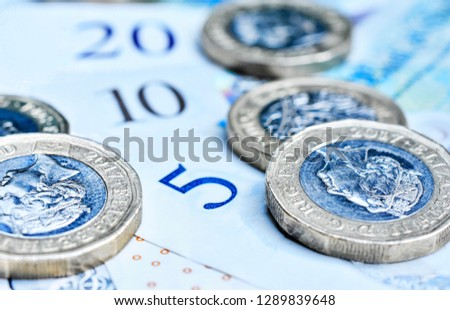 Close up/Macro Detail of Various British Sterling Notes and Coins #1289839648