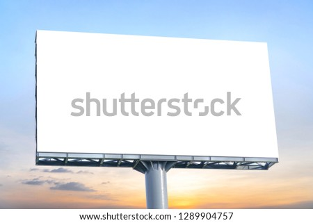 Billboard - Large Blank Billboard with empty screen and beautiful cloudy sky for outdoor advertising poster,Copy space banner ready for your advertisement design or mock up text.Business Concept. #1289904757