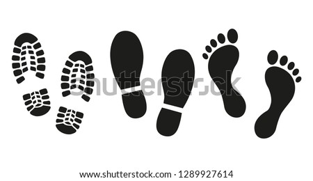Human footprints icon set.  Royalty-Free Stock Photo #1289927614