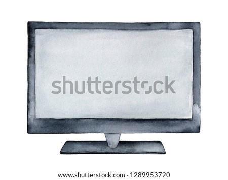 Large new TV or computer monitor illustration with wide empty screen, black frame and stand. Hand painted water color sketchy monochrome drawing on white, cutout clipart element for stylish design.