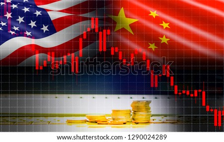 Trade war economy USA America and China flag candlestick graph Stock market exchange analysis / indicator Trading chart business finance money investment with gold coin #1290024289