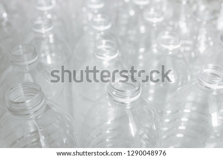 Close Up of plastic bottles and recycling, Plastic waste problem and garbage bottles pollution. Empty bottles for recycle, Campaign to reduce the use of plastic. - Environment concept and save world #1290048976