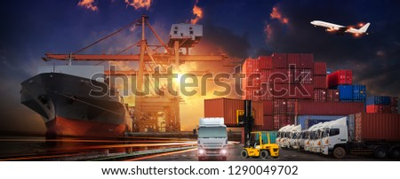 Industrial Container Cargo freight ship, forklift handling container box loading for logistic import export and transport industry concept backgroundtransport industry background #1290049702