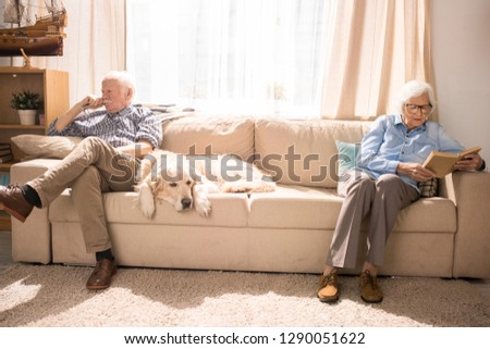 Full length portrait of modern senior couple sitting on opposite sides of couch with pet retriever dog, copy space #1290051622