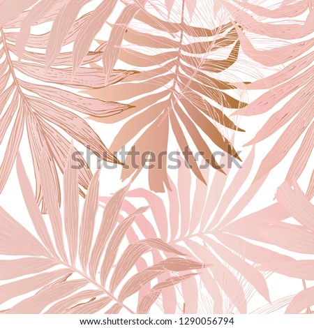 Nature seamless pattern. Hand drawn abstract tropical summer background: fan palm tree leaves in silhouette, line art with glossy gradient effect Vector art illustration in pastel gold rose pink color