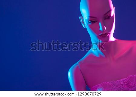 Dummy. Plastic woman. Fashion. Style. Naked mannequin. Woman mannequin Fashion show. Tailoring. Fashion designer. Studio. Pink mannequin. #1290070729
