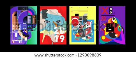 2019 New Poster and Cover Design Template for Magazine. Trendy Vector Typography and Colorful Illustration Collage for Cover and Page Layout Design Template in eps10. #1290098809