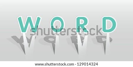 Vector illustration of WORD word. #129014324