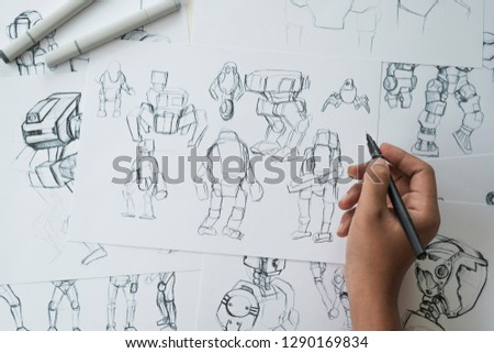 Animator designer Development designing drawing sketching development creating graphic pose characters sci-fi robot Cartoon illustration animation video game film production , animation design studio. #1290169834