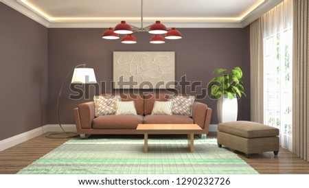 Interior of the living room. 3D illustration #1290232726