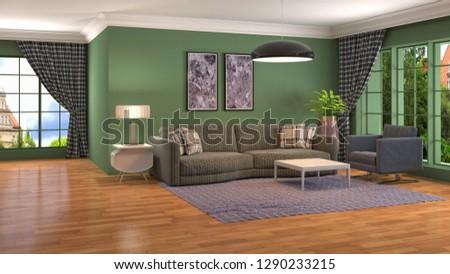 Interior of the living room. 3D illustration #1290233215