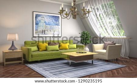 Interior of the living room. 3D illustration #1290235195