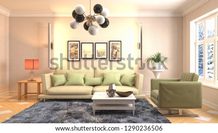 Interior of the living room. 3D illustration #1290236506