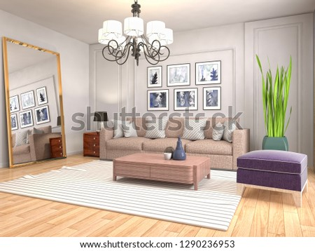 Interior of the living room. 3D illustration #1290236953