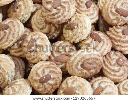 background of cookies with almonds for sale #1290265657