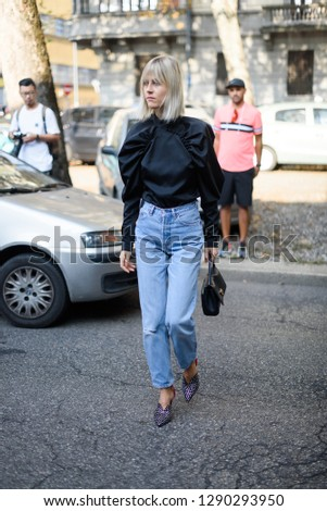 Milan, Italy - September 23, 2018: Street style outfits during Milan Fashion Week - - MFWSS19 #1290293950