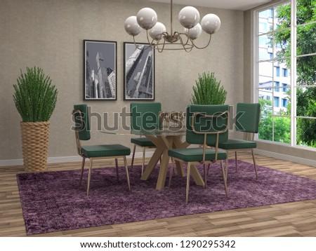 Interior dining area. 3d illustration #1290295342