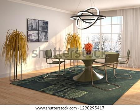 Interior dining area. 3d illustration #1290295417