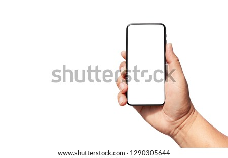 isolated phone on hand  white background with clipping path #1290305644