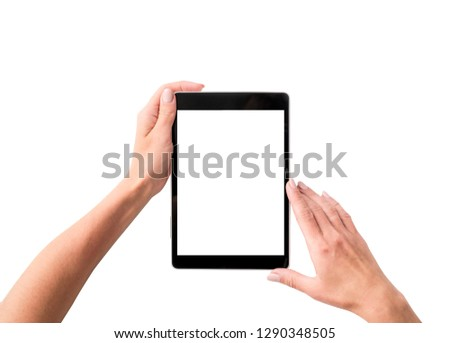 Top view of girl using tablet isolated on a white background #1290348505