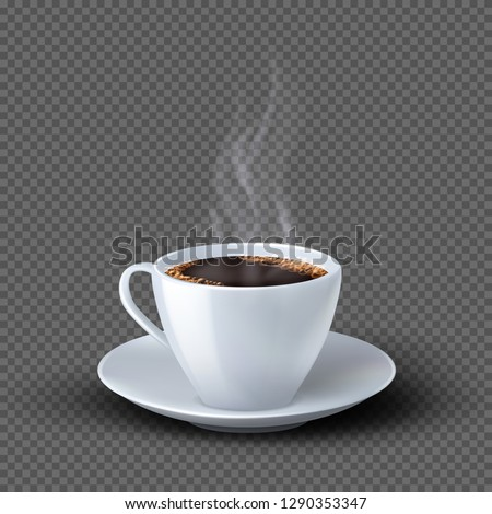 White realistic coffee cup with smoke isolated on transparent background #1290353347
