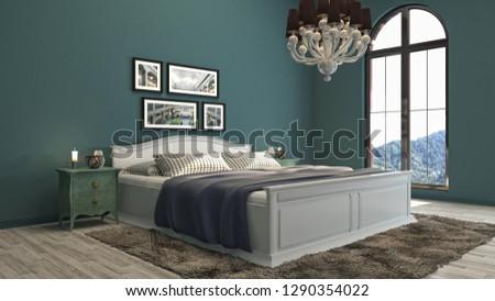 Bedroom interior. 3d illustration #1290354022