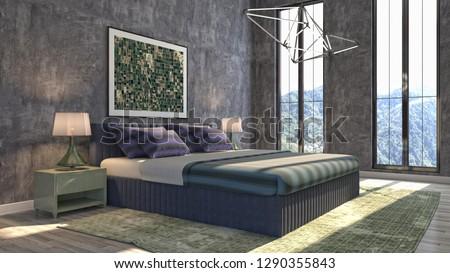 Bedroom interior. 3d illustration #1290355843
