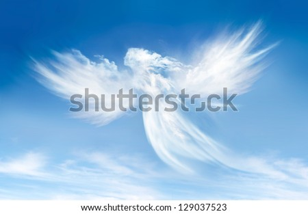 Angel in the clouds Royalty-Free Stock Photo #129037523