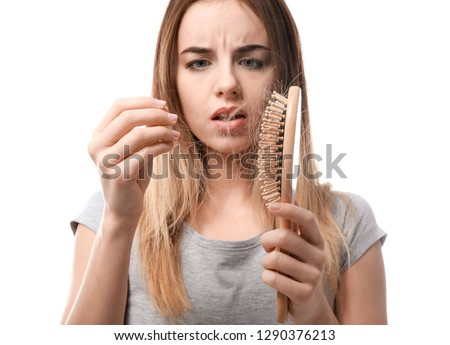 Woman with hair loss problem on white background #1290376213