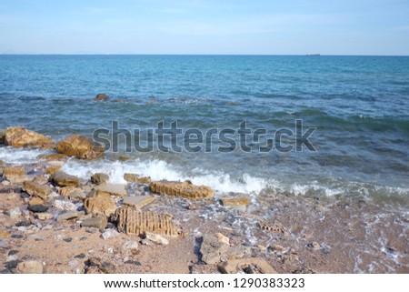 Daytime seaside view in Thailand,Chong Samaesarn is a popular tourist destination. #1290383323