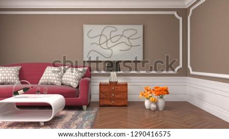 Interior of the living room. 3D illustration #1290416575