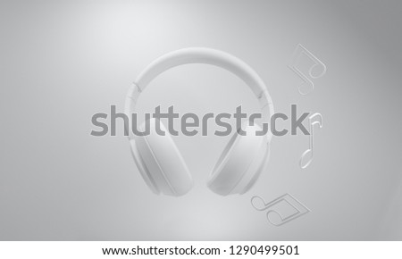 White minimalist headphones. Headphones on white gray background with music notes. Eight note. Modern. Music studio. Minimalist 3D render. Illustration for music lovers. Simple, clean. Isolated,space #1290499501
