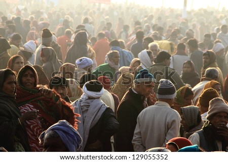 ALLAHABAD - FEB 10:Devotees gathered at the Kumbh Mela grounds for taking the holy bath on February 10, 2013 in Allahabad, India. Kumbh Mela is considered as the largest human gathering in the world. #129055352