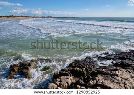Italy, Sicily, Marina di Modica (Ragusa Province), Mediterranean sea, view of the sicilian East Southern rocky coastline #1290852925