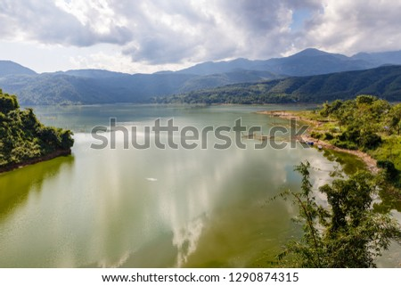 Nam na River, mountain river and cloudy sky, beautiful landscape Lai Chau province Vietnam #1290874315
