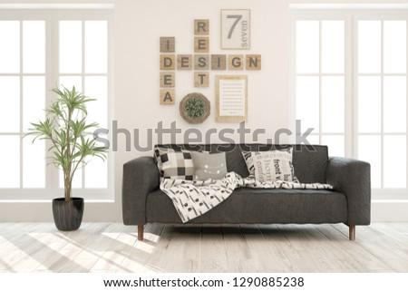 White stylish minimalist room with sofa. Scandinavian interior design. 3D illustration #1290885238