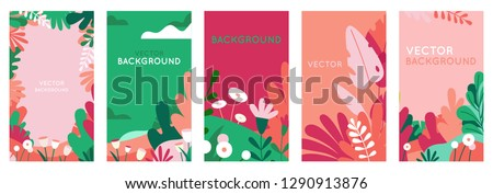 Vector set of abstract backgrounds with copy space for text - bright vibrant banners, posters, cover design templates, social media stories wallpapers with spring leaves and flowers Royalty-Free Stock Photo #1290913876