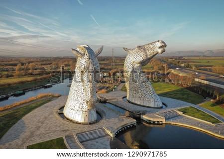 Scotland kelpies on a sunny day #1290971785
