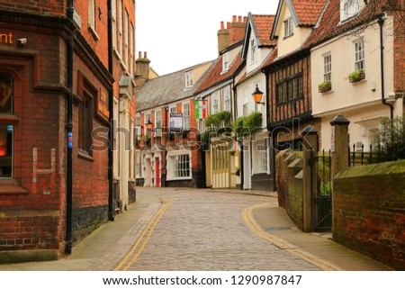 Saturday 12 January 2019 - Norwich, Norfolk in England. The unique Tudor style architecture of the buildings along the quaint cobbled streets of Norwich. #1290987847