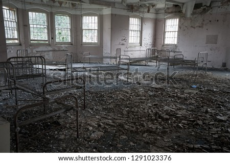 Empty ward and beds at an abandoned mental asylum (now demolished), Cane Hill, Coulsdon, Surrey, England, UK #1291023376