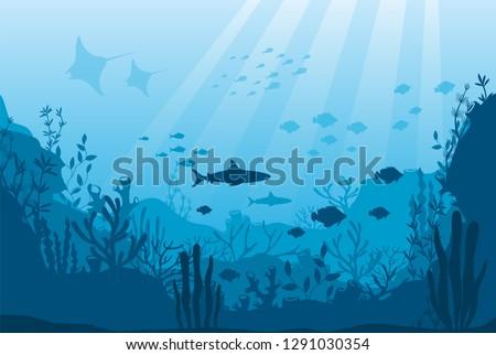 Vector illustration of underwater ocean fauna with coral reef, seaweed, algae, mantas, plants, fishes. Silhouette ocean bottom. Marine underwater life. Sea, seascape, seafloor, undersea background.