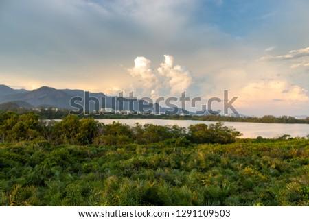 Sunset on Marapendi Lagoon in Barra da Tijuca district, West Side of Rio de Janeiro, Brazil #1291109503