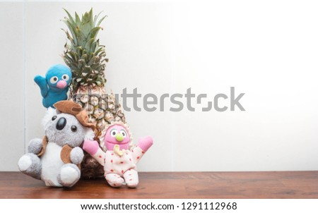 Close up pineapple and teddy bears for background purpose. #1291112968