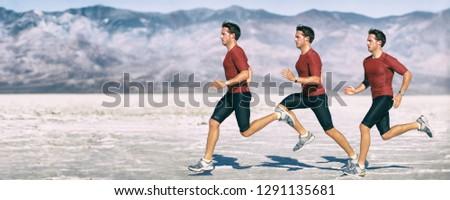 Run athlete multiple exposure of man runner sprinting. Cross country running in desert landscape panorama banner. Biomechanics gait analysis concept. #1291135681