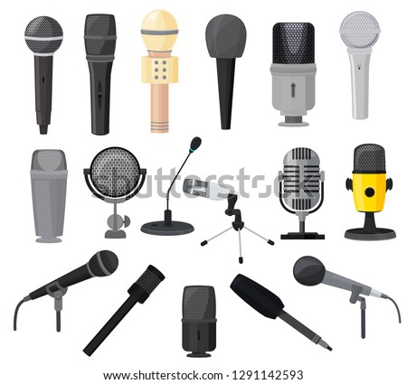 Microphone vector microphones for audio podcast broadcast or music record technology set of broadcasting concert equipment illustration isolated on white background