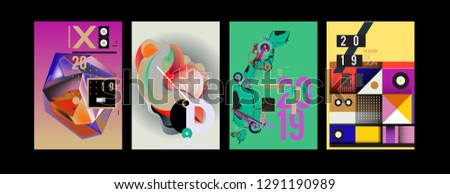 2019 New Poster and Cover Design Template for Magazine. Trendy Vector Typography and Colorful Illustration Collage for Cover and Page Layout Design Template in eps10. #1291190989